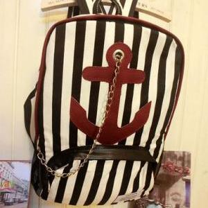 Black Striped Large Anchor Backpack..
