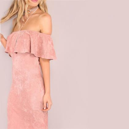 Stylish Sexy Rose Pink Off Shoulder..