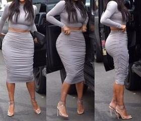 Sexy Gray Two Piece Bodycon Long Sleeve Dress