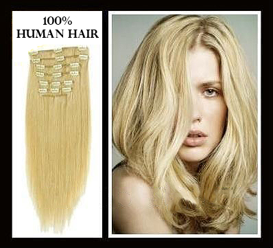 26 inches (66 cm) 7 Piece High Quality Remy Clip In 100% Real Human Hair Extensions Medium Blonde