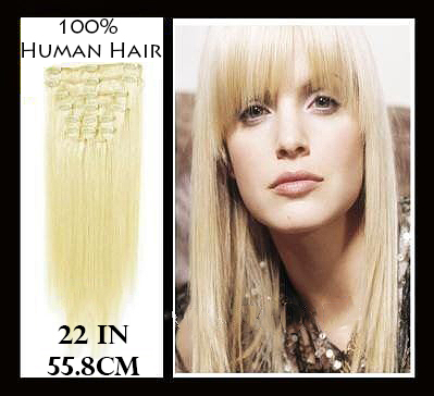22 inches (55.8 cm) 7 Piece High Quality Remy Clip In 100% Real Human Hair Extensions Platinum Blonde