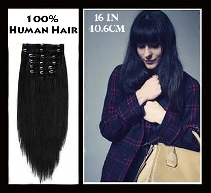 16 inches (40.6 cm) 7 Piece High Quality Remy Clip In 100% Real Human Hair Extensions Jet Black