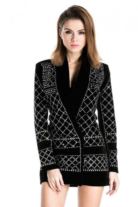 Black Rhinestone Studded Long Sleeved Blazer Dress