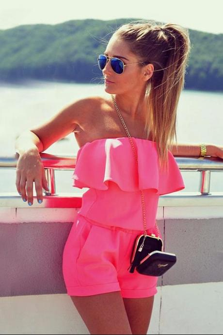 Sexy Ruffled Hot Pink Jumpsuit