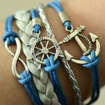 Handmade Blue and White Leather and Hemp Infinity Anchor Charm Bracelet