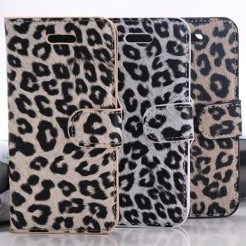 Leopard Leather Case Cover Stand For iPhone 5 5s