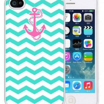 Blue Chevron Pink Anchor Case For iPhone 5 5S 5G