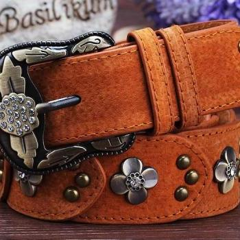 Gorgeous Brown Vintage Style Genuine Leather Belt With Beautiful Faux Diamonds