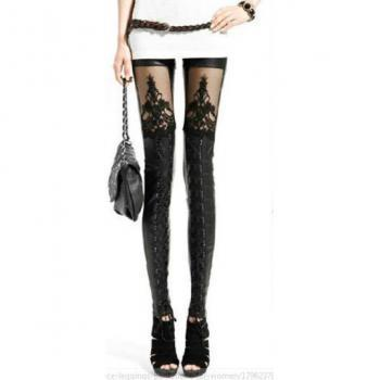 Sexy & Very Fashionable Embroidered Faux Leather Leggings With Lacing
