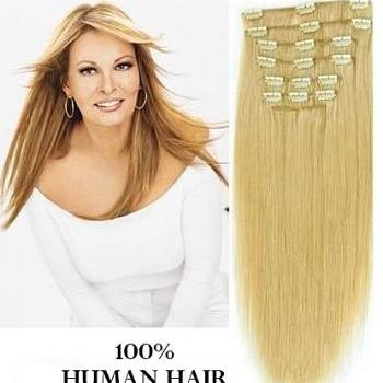 18 inches (45.7 cm) 7 Piece High Quality Remy Clip In 100% Real Human Hair Extensions Light Ash Blonde