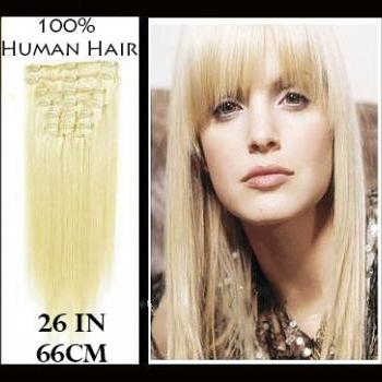 26 inches (66 cm) 7 Piece High Quality Remy Clip In 100% Real Human Hair Extensions Platinum Blonde