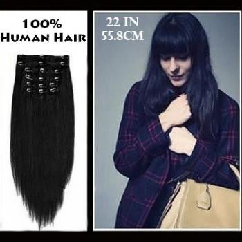 22 inches (55.8 cm) 7 Piece High Quality Remy Clip In 100% Real Human Hair Extensions Jet Black
