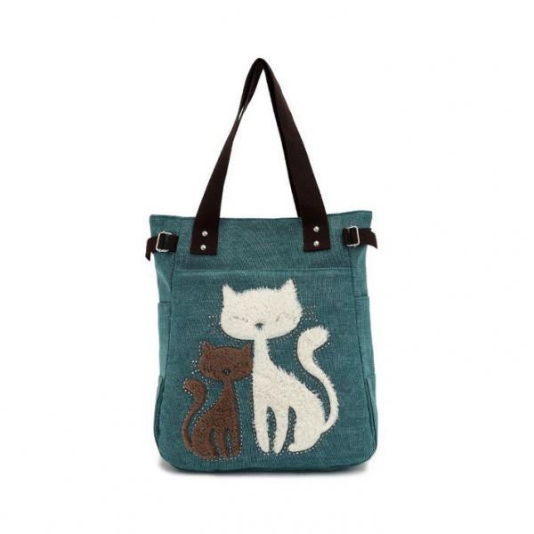Adorable Green Cat Canvas Shoulder Bag/Tote